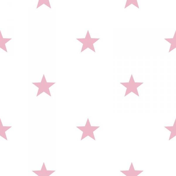 Tapeta Favola 5640 biała w różowe gwiazdki
