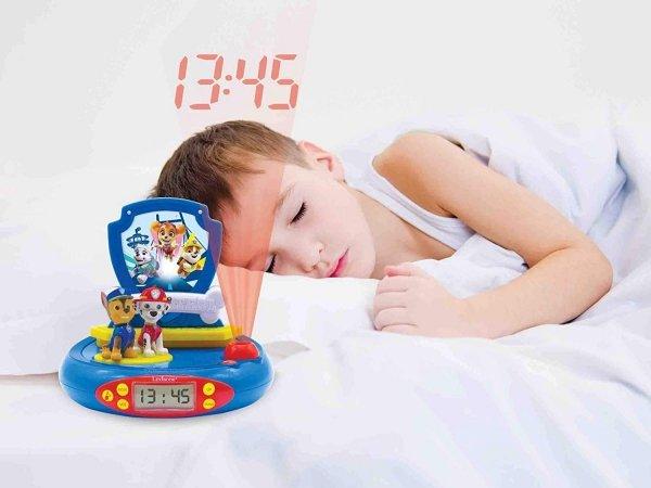 Budzik zegar z alarmem i projektorem PAW Psi Patrol figurki 3D