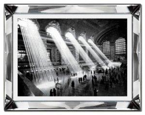 Reprodukcja w szklanej lustrzanej ramie Dworzec Kolejowy