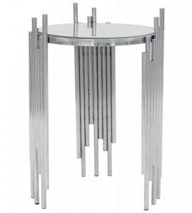 Stolik rurki ze stali nierdzewnej srebrny blat szkło hartowane