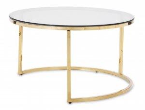 Duży stolik kawowy pomocniczy okrągły złoty szklany blat