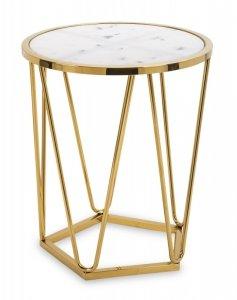 Złoty stolik pomocniczy jasny blat