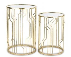 Komplet  bardzo eleganckich 2 stolików pomocniczych złotych