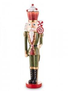 Dekoracyjna urocza wysoka figurka Dziadek Do Orzechów