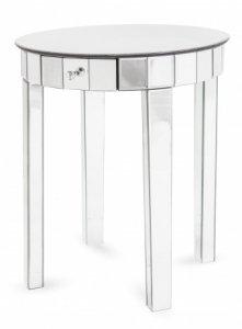 Nowoczesny stolik okrągły ze szkła i mdf z szufladką