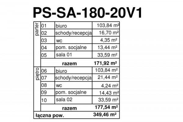 Projekt biurowca PS-SA-214-20v1 pow. 349,46 m2