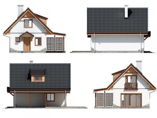 Projekt domu Szarejka pow.netto 63,63 m2