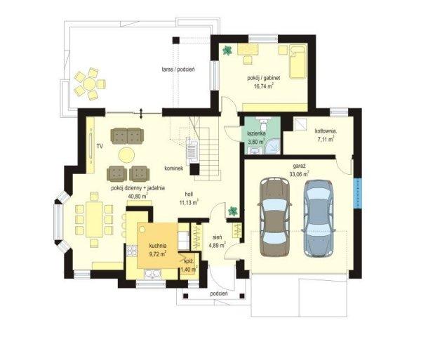 Projekt domu Jesion II pow.netto 184,89 m2