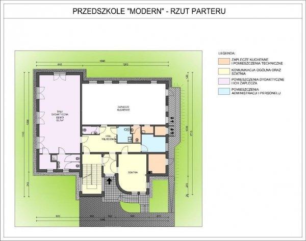Projekt przedszkola MODERN na 75 dzieci 3-oddziałowe (trzy warianty kolorystyczne)