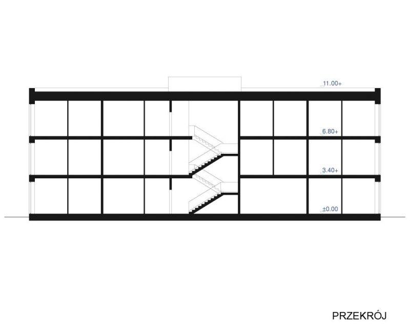 Projekt biurowca / hotelu PS-BL-470-30 o pow. 1 205,23 m2