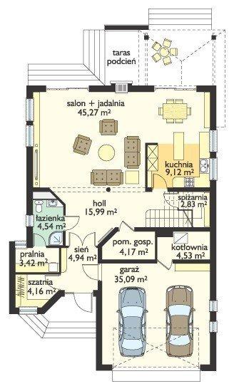 Projekt domu Wygodny II pow.netto 225,23 m2