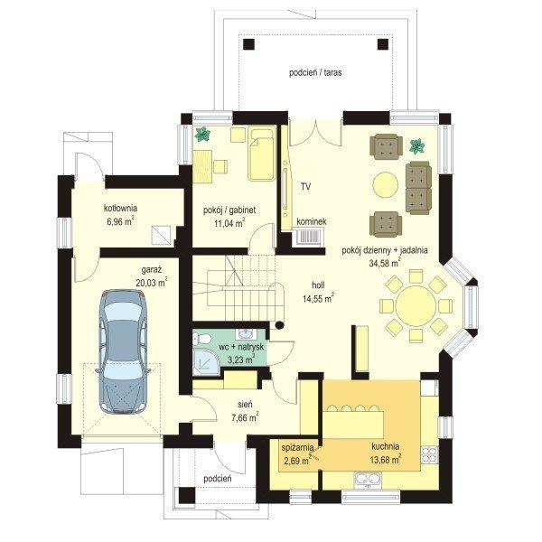 Projekt domu Prymus pow.netto 166,06 m2
