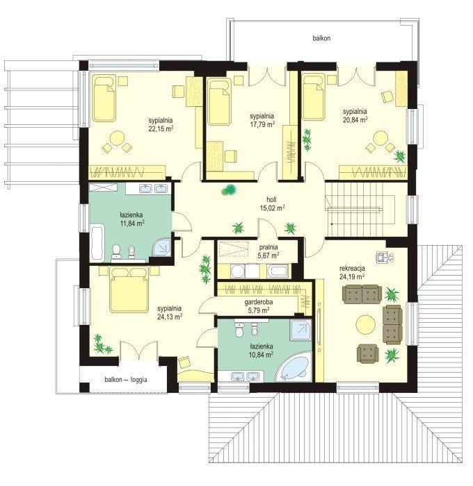 Projekt domu Wiola pow.netto 309,38 m2