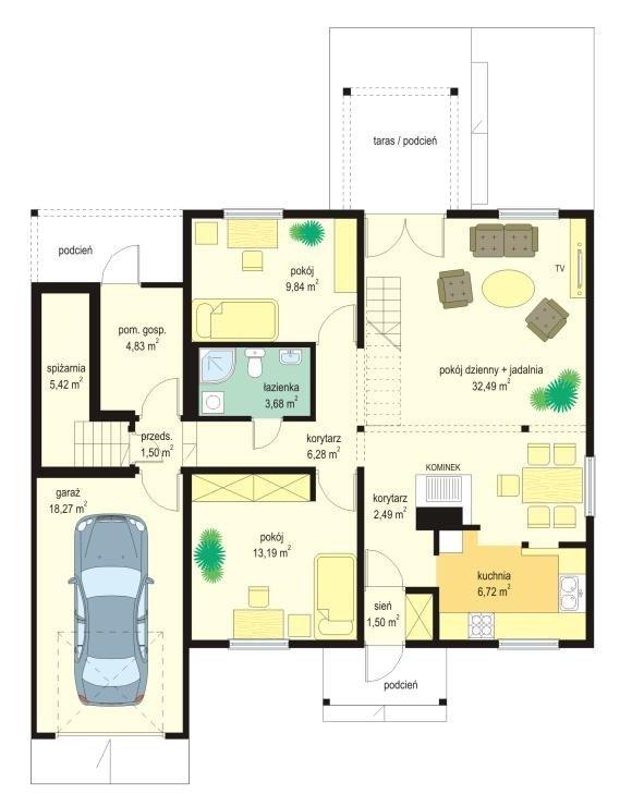 Projekt domu Modrzewiowy pow.netto 104,28 m2