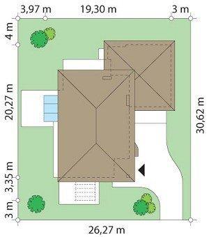 Projekt domu Południowy pow.netto 294,59 m2