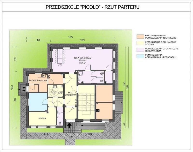 Projekt przedszkola PICOLO na 45 dzieci 3-oddziałowe (WARIANT II))