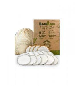 BAMBAW Wielorazowe płatki, waciki kosmetyczne Bambusowo-bawełniane Zestaw 16 sztuk