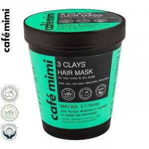CAFE MIMI Maska 3 Glinki do włosów tłustych u nasady i suchych na końcach, 220 ml