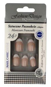 Top Choice Fashion Design Sztuczne paznokcie z klejem - Manicure francuski (77951)  1op.-24szt