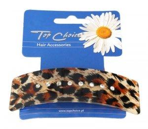 Top Choice Spinka do włosów automatyczna panterka z cyrkoniami  (26164)  1szt