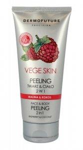 Dermofuture Precision Vege Skin Peeling do twarzy i ciała 2w1 Malina&Kokos  200ml