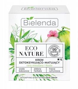 Bielenda Eco Nature Krem detoksykująco-matujący na dzień i noc - Woda Kokosowa & Zielona Herbata & Trawa Cytrynowa 50ml