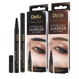Delia Cosmetics Eyebrow Expert Piórkowy Marker do brwi - kolor czarny 1szt