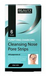 Beauty Formulas Skin Care Głęboko oczyszczające paski na nos z węglem 6szt