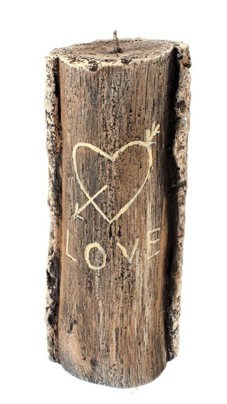 ARTMAN Świeca ozdobna Pniak Walentynkowy - średni brązowy 1szt