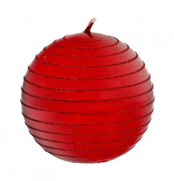 ARTMAN Boże Narodzenie Świeca ozdobna Andalo Metalic czerwona - kula mała 1szt