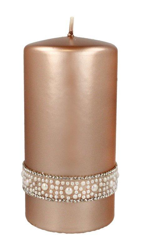ARTMAN Świeca ozdobna Crystal Opal Pearl rose gold - walec średni 1szt
