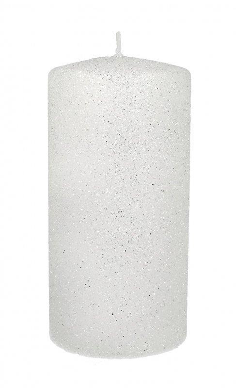 ARTMAN Świeca ozdobna Glamour biała - walec mały 1szt
