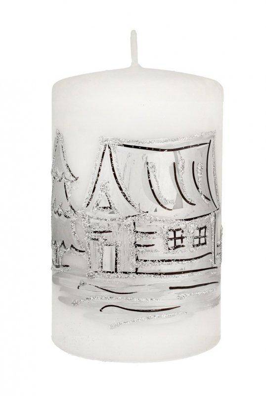 ARTMAN Boże Narodzenie Świeca ozdobna Kraina Lodu biała - walec mały 1szt