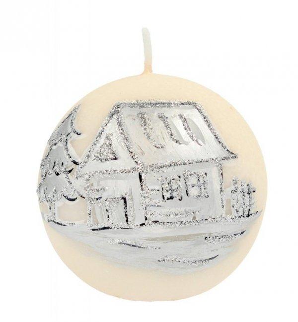ARTMAN Boże Narodzenie Świeca ozdobna Kraina Lodu kremowa - kula mała 1szt
