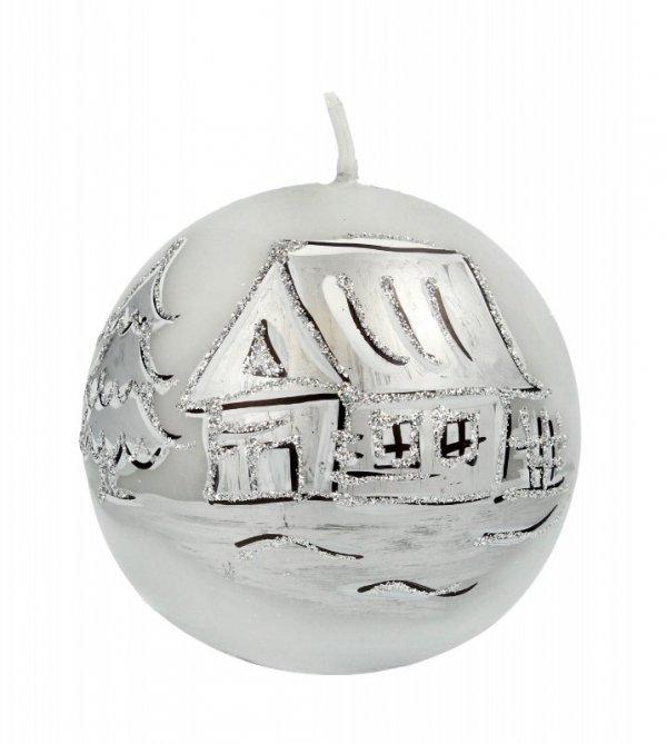 ARTMAN Boże Narodzenie Świeca ozdobna Kraina Lodu szara - kula mała 1szt