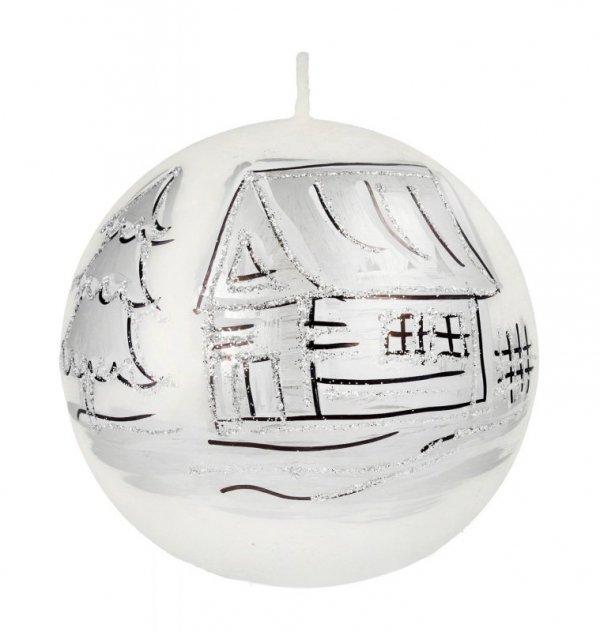 ARTMAN Boże Narodzenie Świeca ozdobna Kraina Lodu biała - kula średnia 1szt