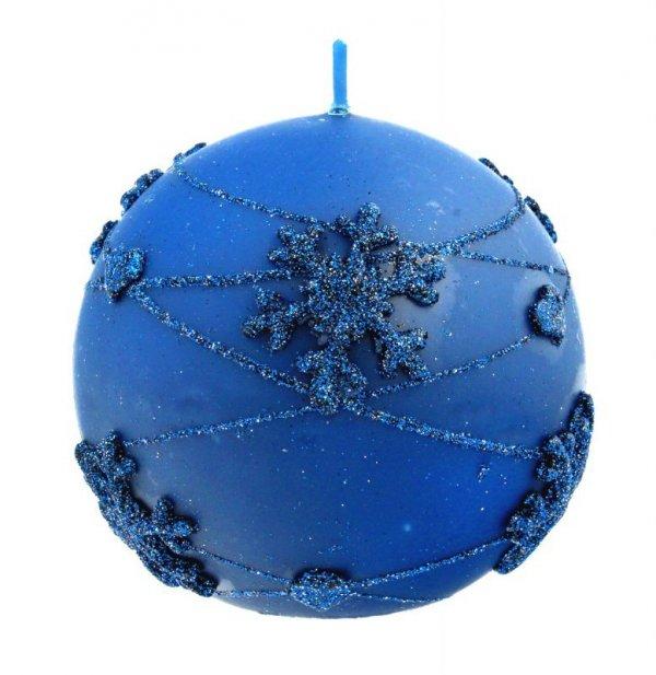 ARTMAN Boże Narodzenie Świeca ozdobna Snowflakes granatowa - kula średnia 1szt
