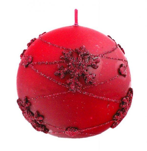 ARTMAN Boże Narodzenie Świeca ozdobna Snowflakes czerwona - kula średnia 1szt