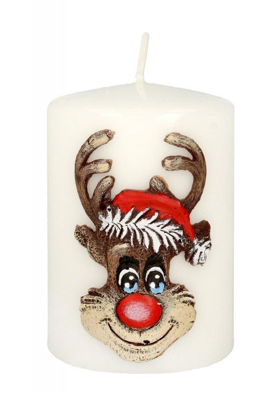 ARTMAN Boże Narodzenie Świeca ozdobna Rudolf biały - walec mały 1szt