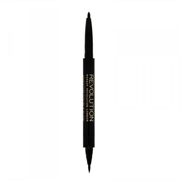 Makeup Revolution Dwustronny czarny eyeliner w pisaku Awesome Eyeliner Felt and Kohl, 1 szt.