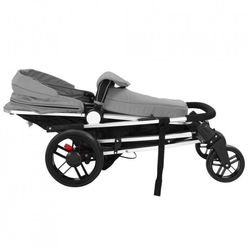 Wózek spacerowy 2w1 (gondola i spacerówka) szary i czarny