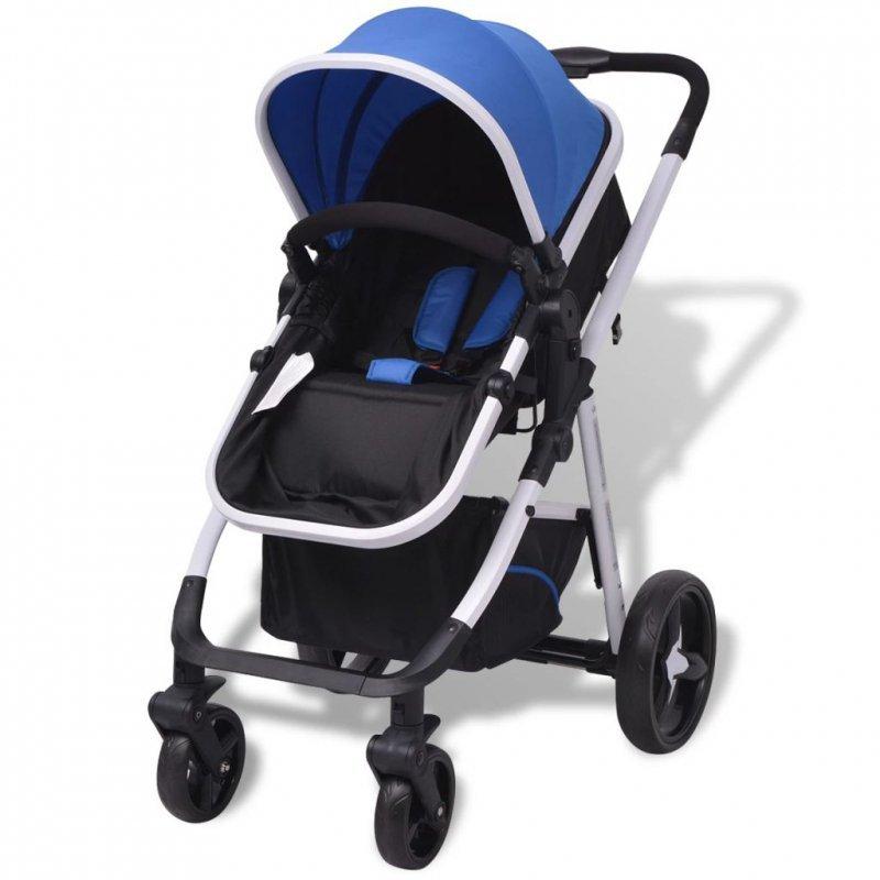 Wózek 3-w-1, aluminium, niebiesko-czarny