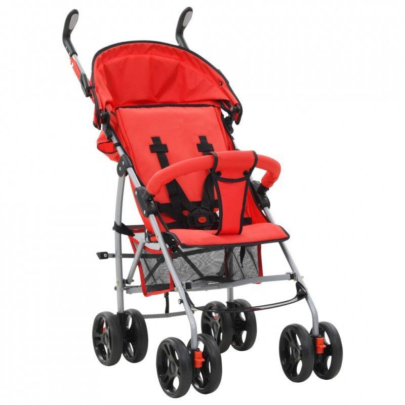Składany wózek spacerowy 2-w-1, czerwony, stal
