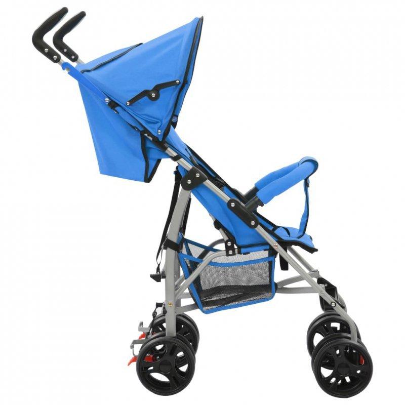 Składany wózek spacerowy 2-w-1, niebieski, stal