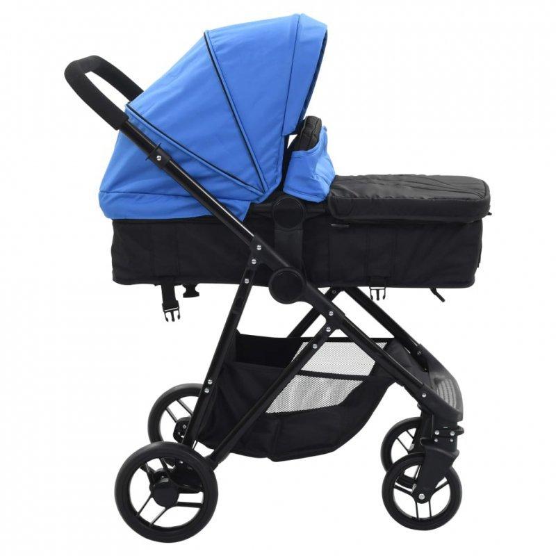 Wózek 2w1 (gondola i spacerówka) niebieski i czarny, stal