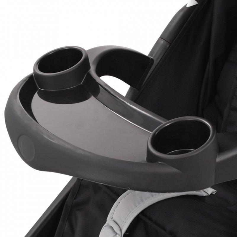 Wózek spacerowy z 3 kołami, szaro-czarny