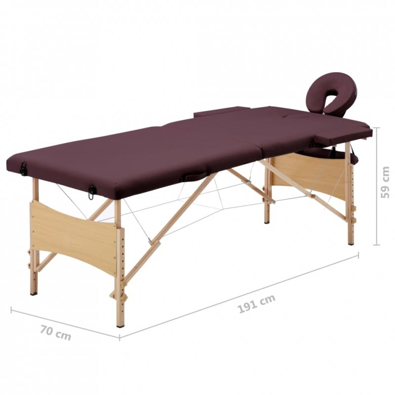 Składany stół do masażu, 2 strefy, drewniany, fioletowy
