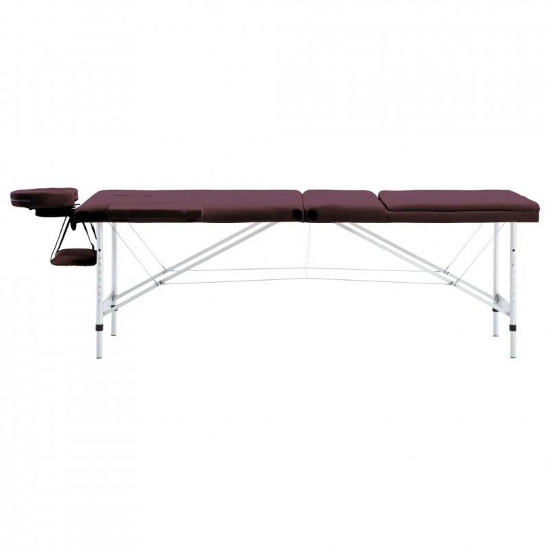 Składany stół do masażu, 3 strefy, aluminiowy, winny fiolet