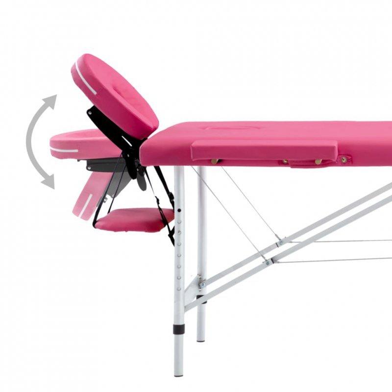 Składany stół do masażu, 4 strefy, aluminiowy, różowy