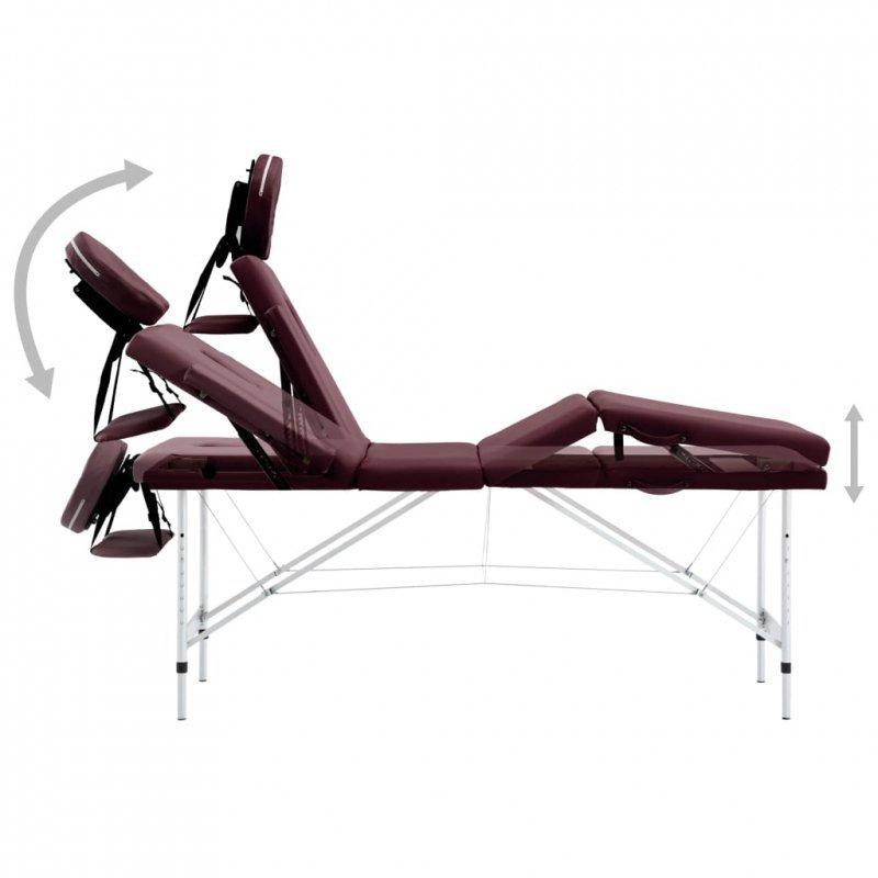 Składany stół do masażu, 4 strefy, aluminiowy, winny fiolet